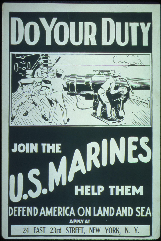 A vintage U.S. Marine Corps poster.