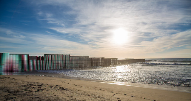 The US Border Fence at the Pacific Ocean