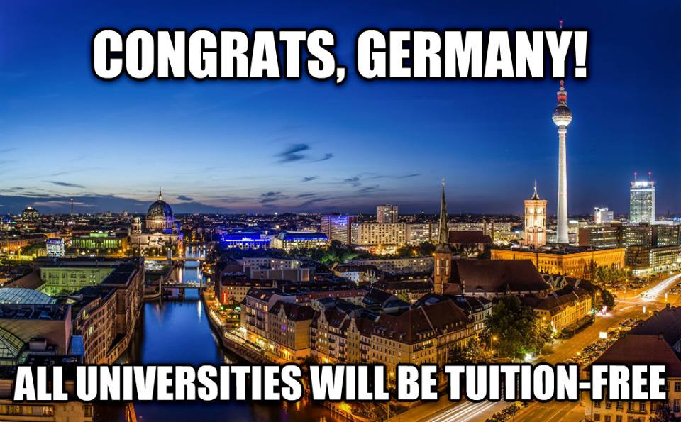 Congrats Germany! All universities will be tuition free meme
