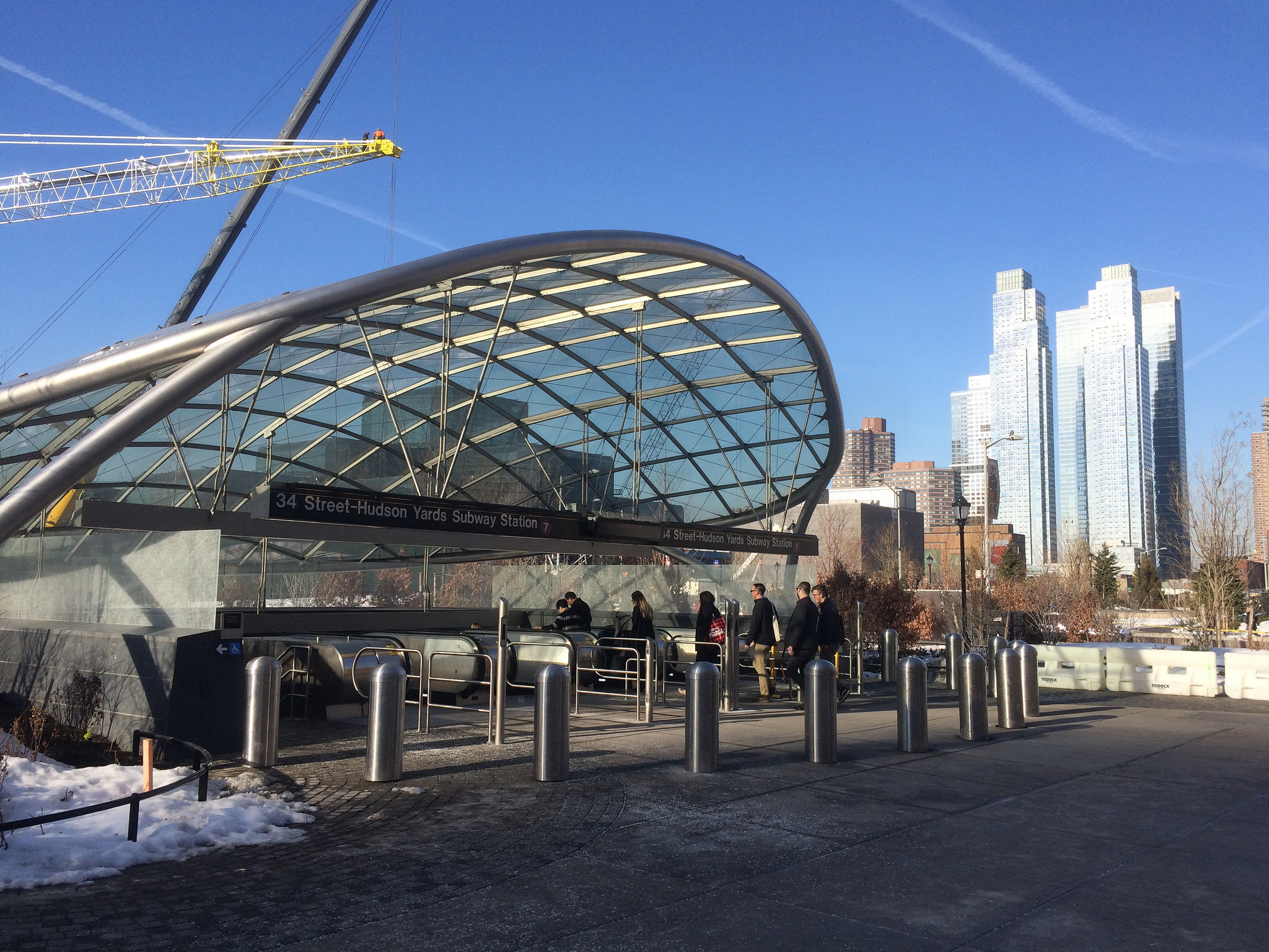 Hudson Yards condo developments rise above the new ritzy 7 train station.