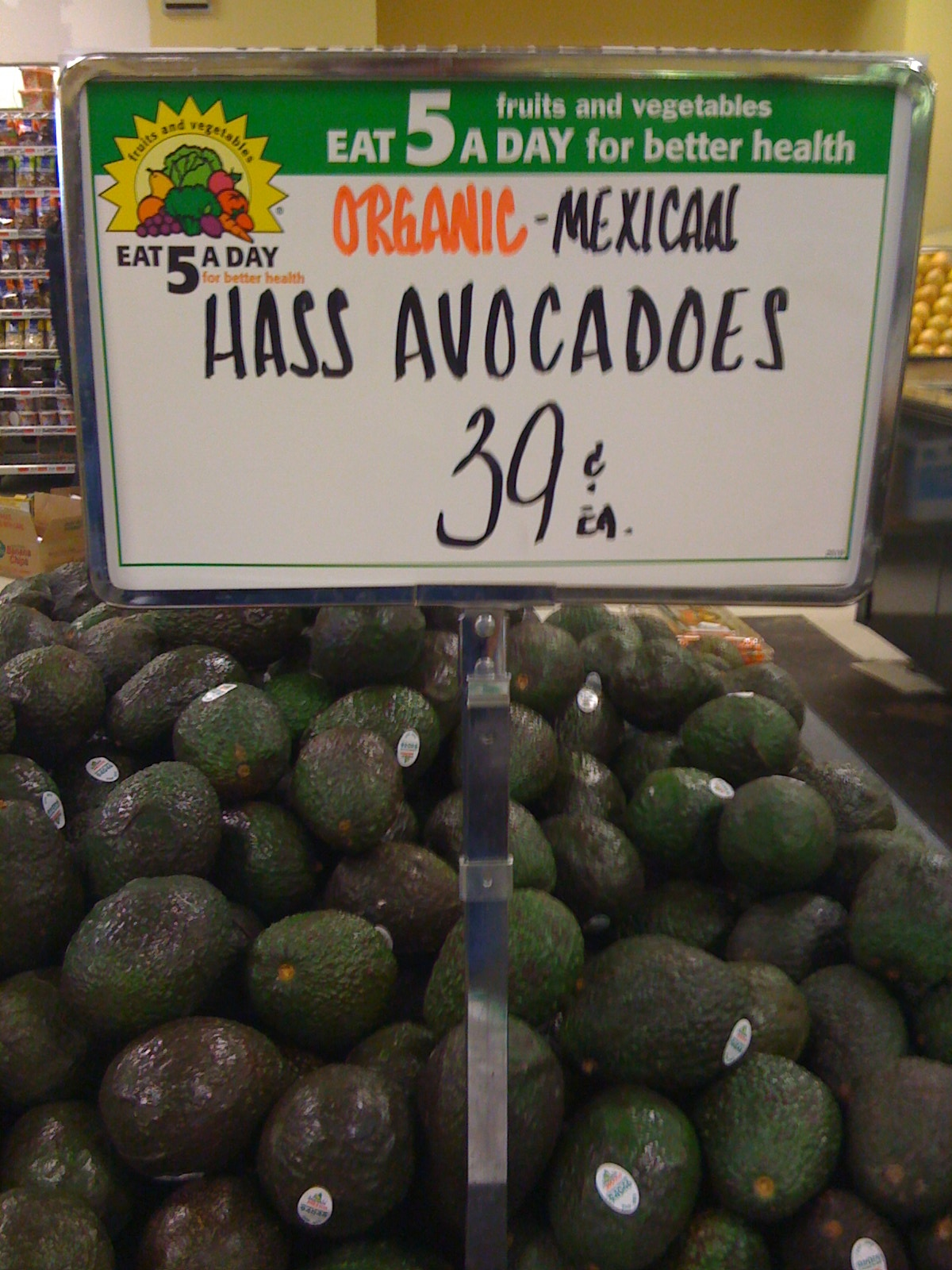 Avocados in a grocery store
