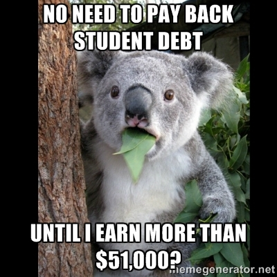 No need to pay back student debt until i make more than $51,000 koala bear meme