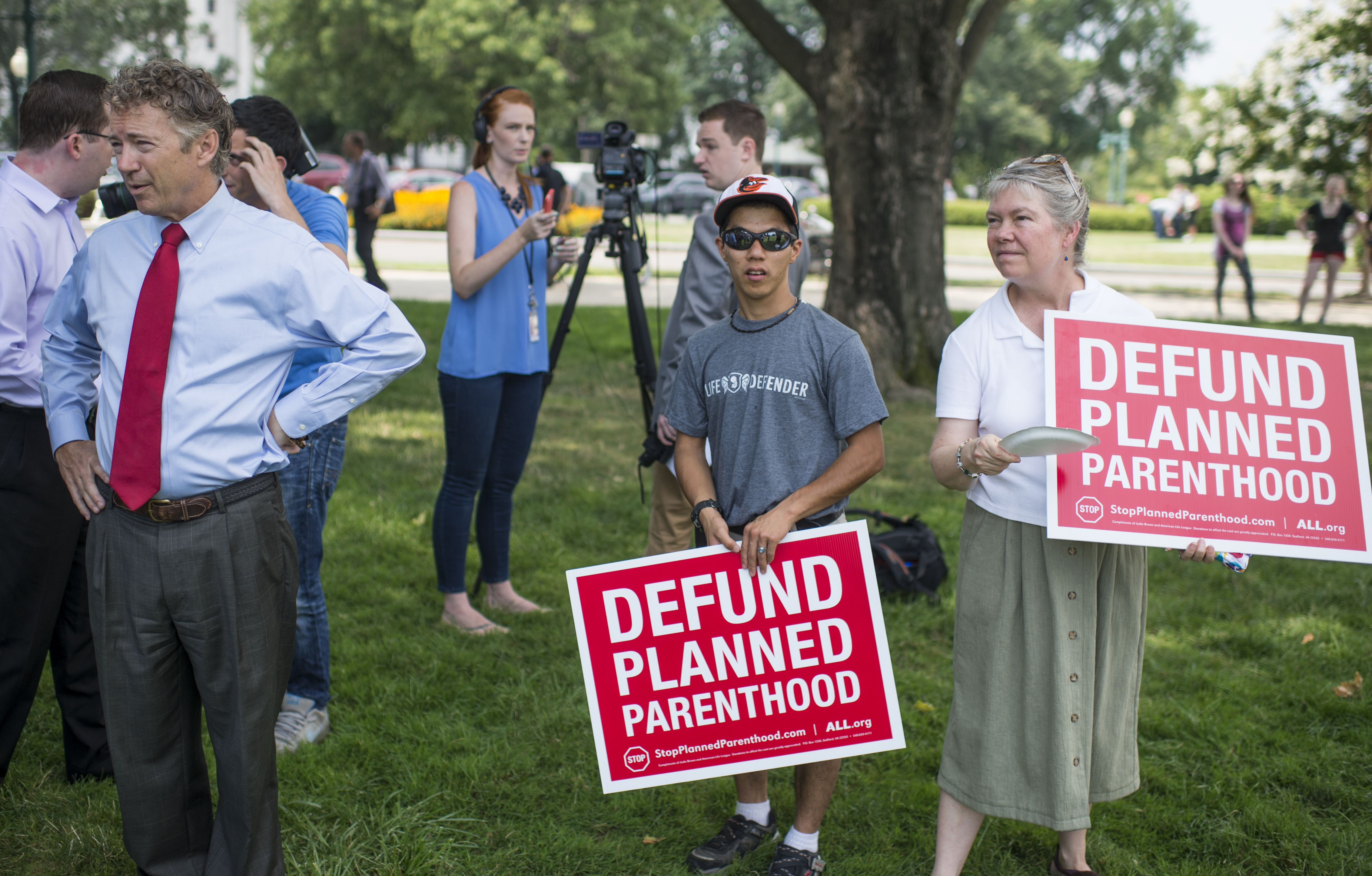 """""""Sen. Rand Paul, R-Ky., waits to speak at a mid-day rally outside the U.S. Capitol on Tuesday, July 28, 2015, in support of defunding Planned Parenthood. """""""