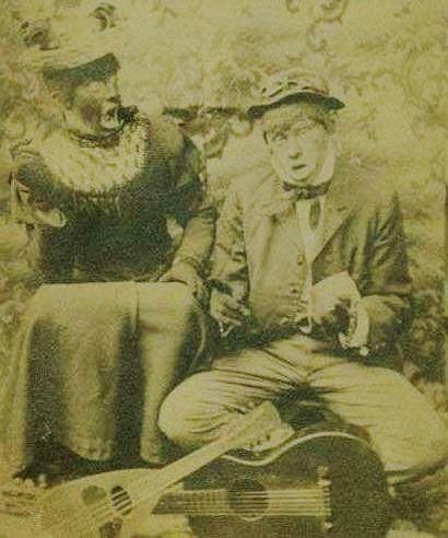A 1908 postcard of two blackface actors.
