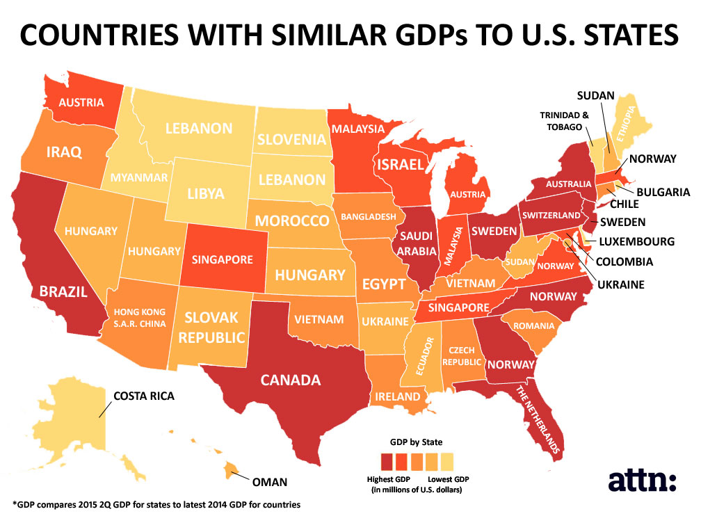 This Map Shows How Massive US State Economies Are ATTN - Us gdp map