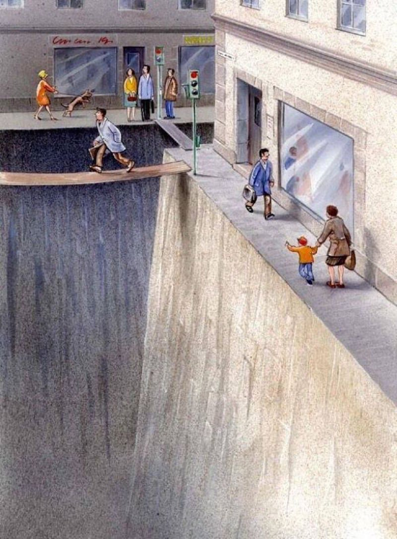 Karl Jilg's illustration of how unfriendly cities are for pedestrians.