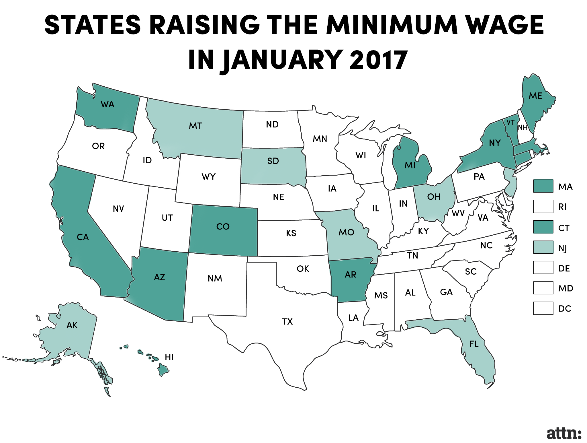 States Raising Min Wage In Jan 2017 Map Caleb Chin The Highest Minimum