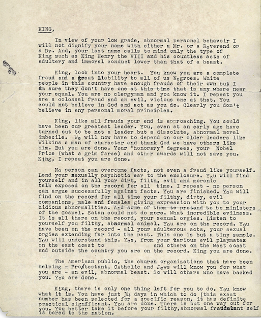 "The ""suicide letter"" sent to Martin Luther King Jr. in 1964."