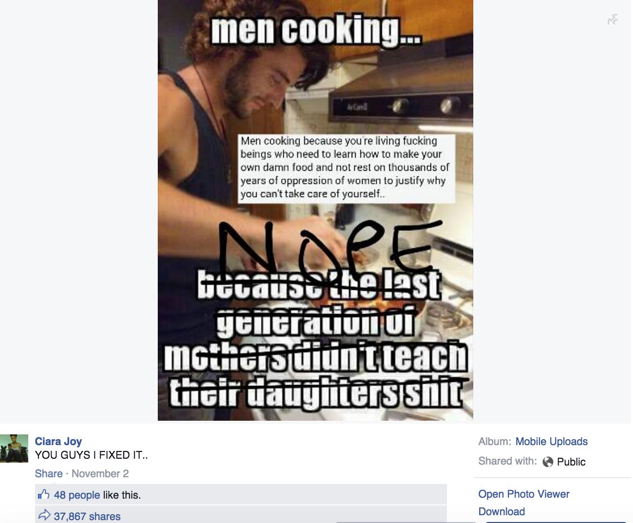 Ciara Joy's viral Facebook meme