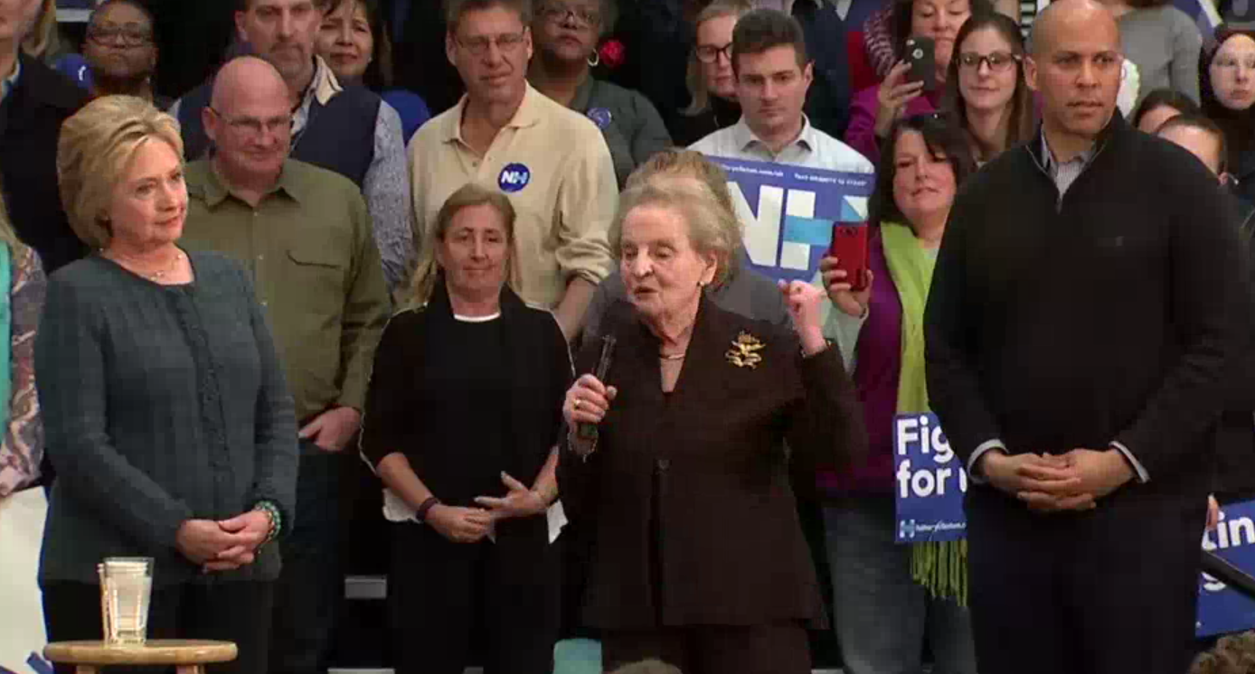 Madeline Albright speaking at a Clinton event