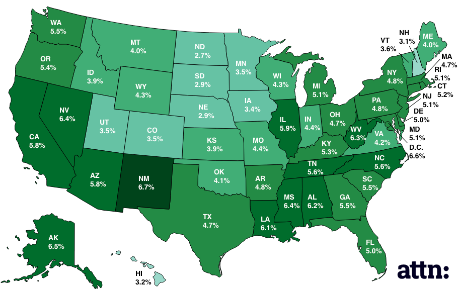 Map Of Unemployment Rates By State ATTN - Us map electoral votes 2016 unfilled
