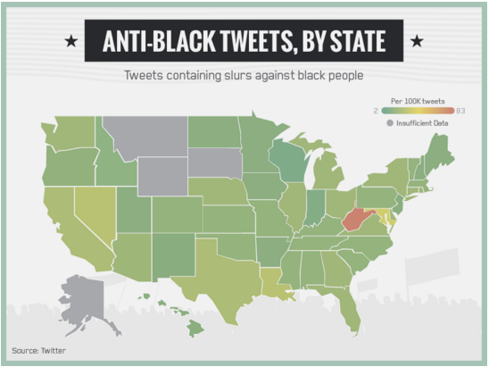 This Map Shows Which States Tweet The Most Hate Speech ATTN - Racist us map