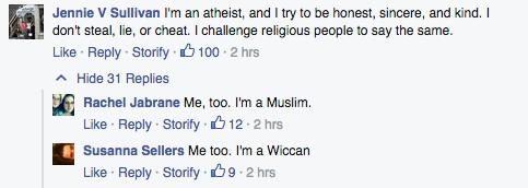 Facebook responses to anti-bigotry meme