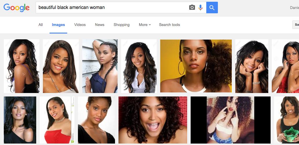 "Google image search for ""beautiful black American woman."""