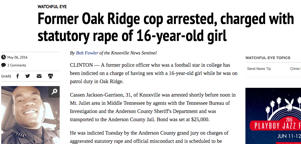 Former Oak Ridge cop arrested, charged with statutory rape of 16-year-old girl