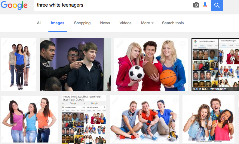 White teenager depiction