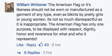 Comments on American flag bikinis.