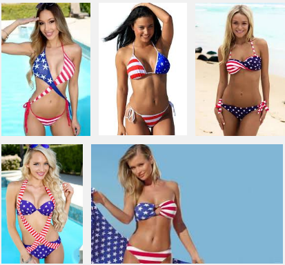 American flag bikinis.