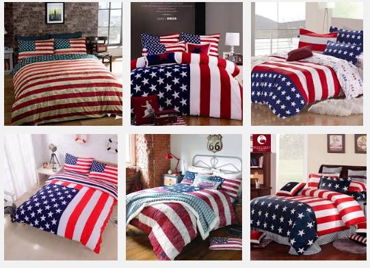 American flag bedding.