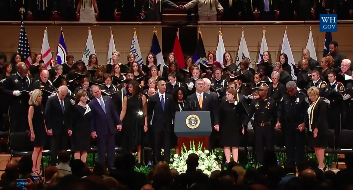 Leaders stand together in unity at the Dallas memorial.