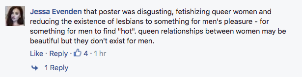 "Facebook comments about ""hot lesbian"" ad."