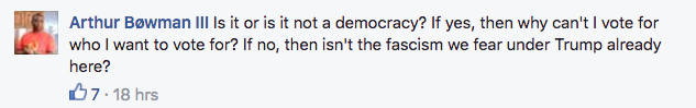 Facebook comments about minority voting.