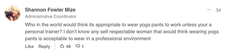 LinkedIn yoga pants