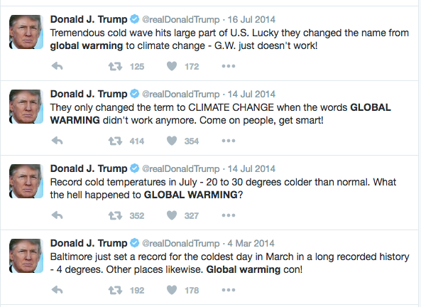 Donald Trump Live-Deletes Tweet Denying Climate Change