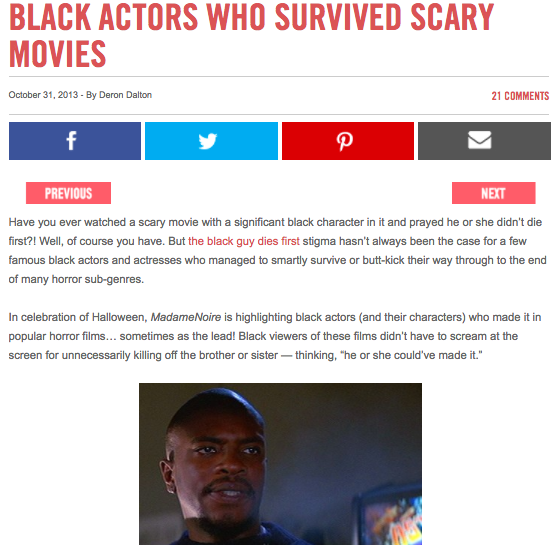 """""""Black Actors Who Survived Scary Movies"""""""
