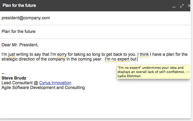 """""""Just Not Sorry"""" Gmail Plug-In"""
