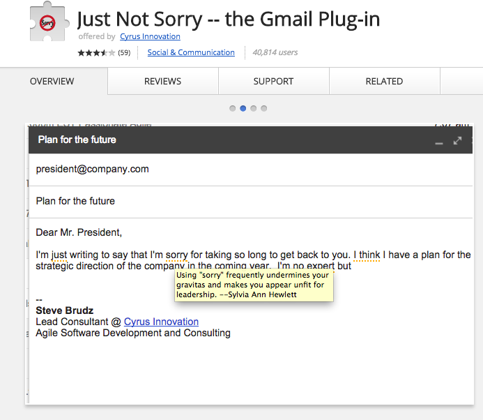 """Just Not Sorry"" Gmail Plug-in"