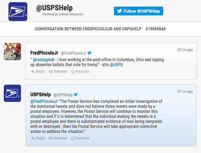 USPS responds to fake tweet about voter fraud