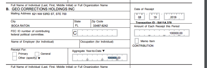 GEO Corrections donations to a pro-Trump super-pac.