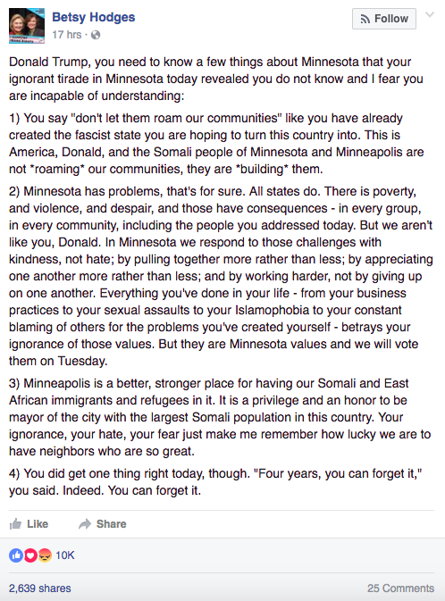 Mayor Betsy Hodges Facebook post