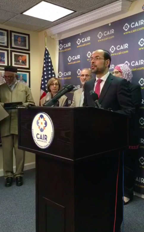 Nihad Awad speaks at the CAIR press conference.