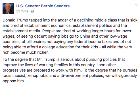 Bernie Sanders Facebook post