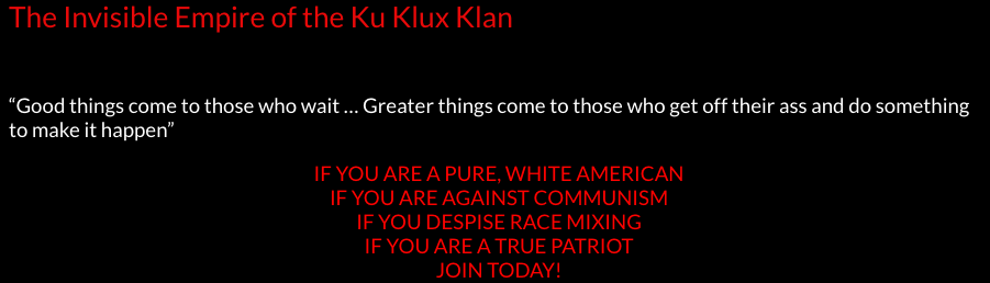 Application page for a KKK chapter.