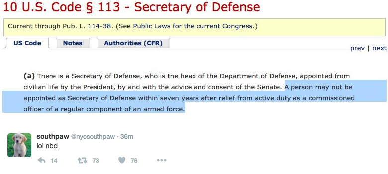 Federal law on secretary of defense appointments.