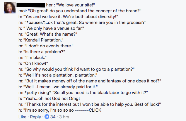 Jordan A. Maney's Facebook post about plantation wedding phone call.