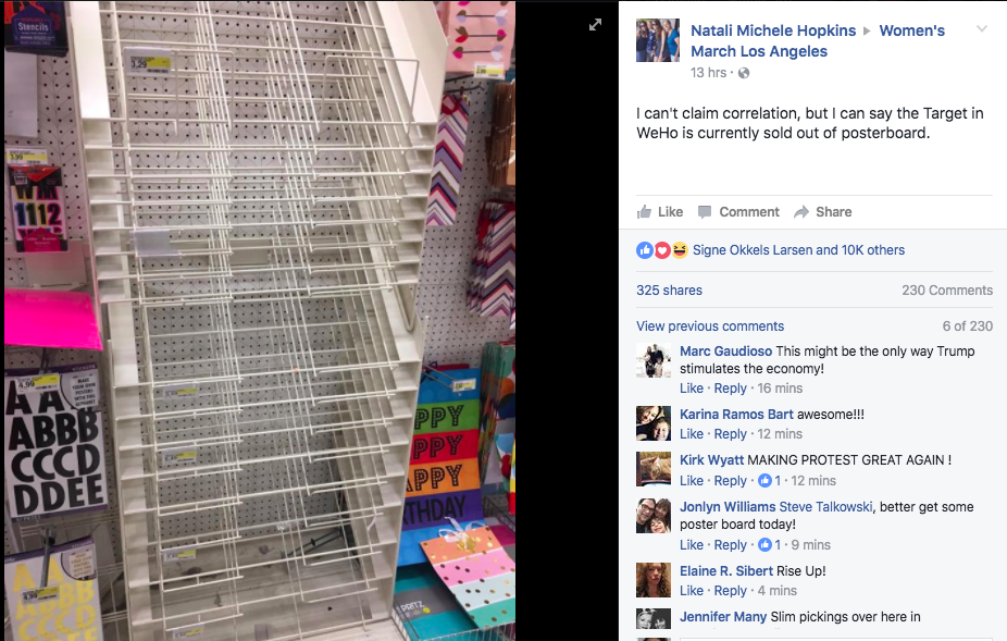 Facebook post about an empty poster rack.
