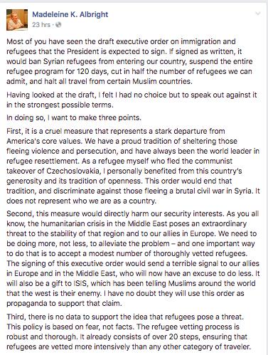 Madeleine Albright refugee post