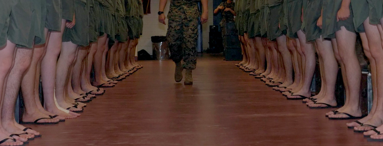 U.S. Marine Corps recruits during inspection.