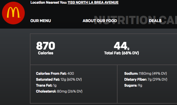 The calories for a Big Mac and medium fries.