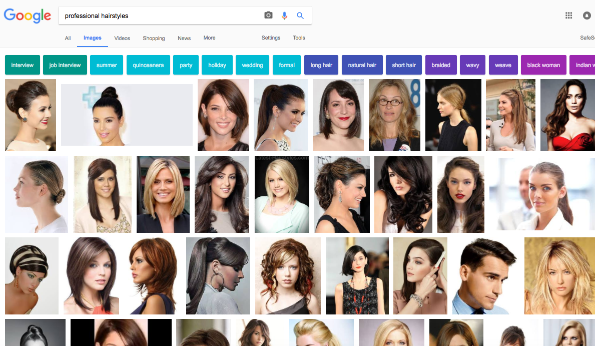 "Google image search results for ""professional hairstyles"" on April 2, 2017."