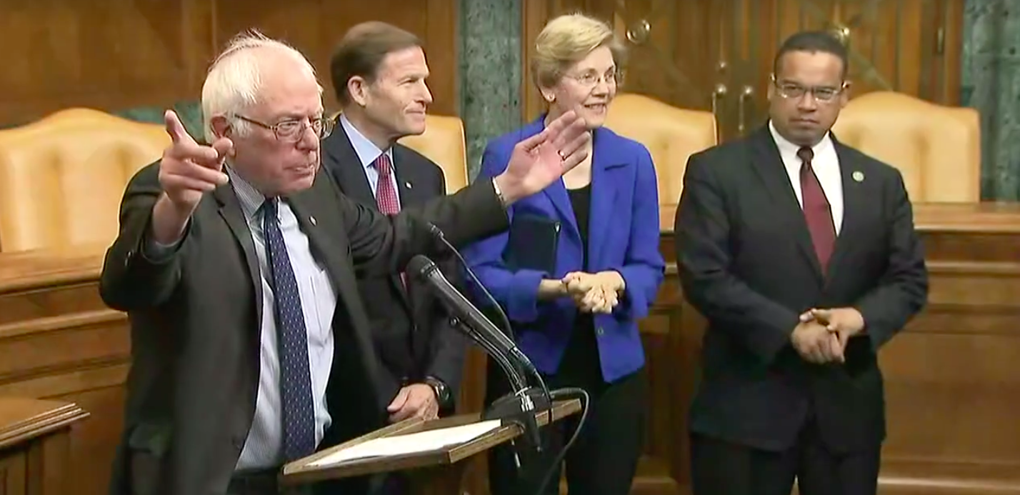 Sen. Bernie Sanders at a press conference about the College for All Act.