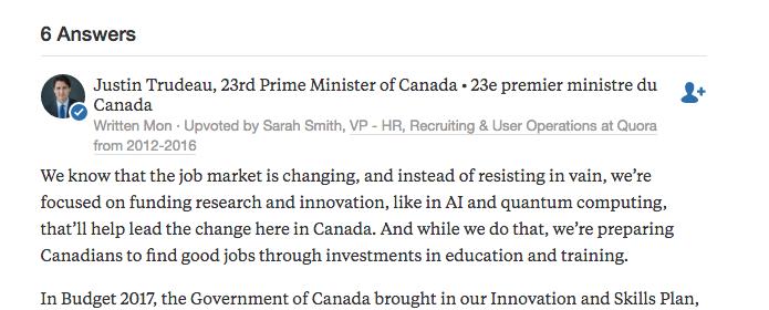 Prime Minister Justin Trudeau's response on Quora.