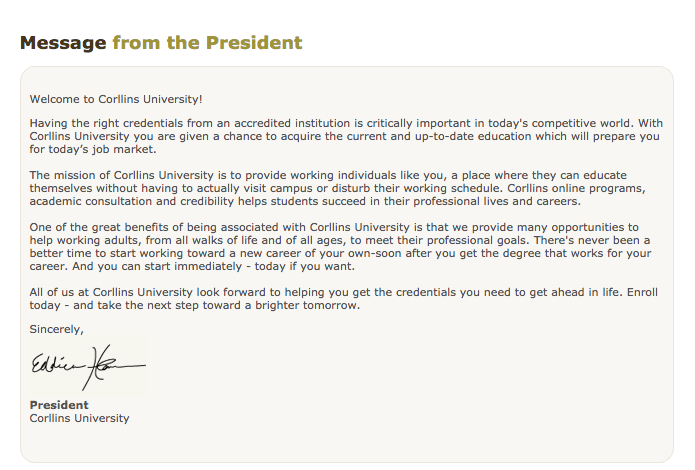 Corllins University message from the president.