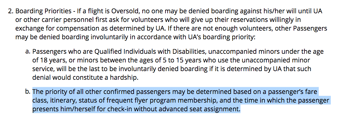 United Airlines' contract of carriage.