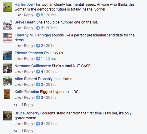Comments by Facebook users about Elizabeth Warren's popularity.