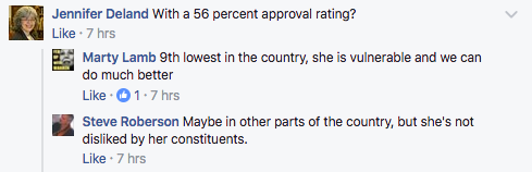 Facebook users debate Elizabeth Warren's popularity.